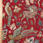 Medieval Forest Animals Tapestry - Curtains Soft Furnishings Cotton Mix - Red